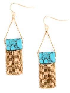 Turquoise Fringe Drop Earrings