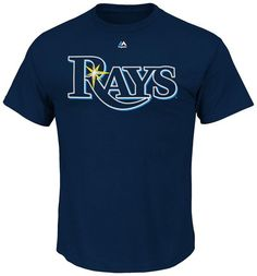 NEW/NWT TAMPA BAY RAYS Wordmark T-Shirts - NAVY BLUE - Majestic MLB #Majestic #TampaBayRays