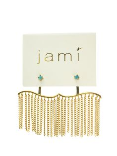 """About This Item:-24k gold plated chain-turquoise stud - ear backing is sterling silver- about 1"""" width x 1"""" length"""
