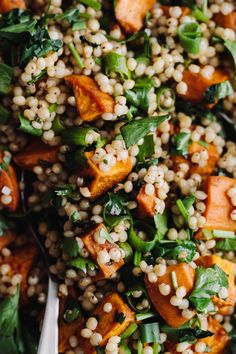 Sweet potatoes roasted with chipotle then tossed with herbs and sorghum.