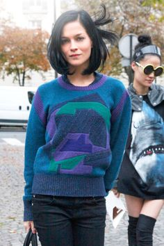 Leigh Lezark  Give your look an '80s-era vibe with a retro-inspired sweatshirt.