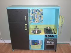 make play kitchen out of old entertainment center!  From: http://crispymom.blogspot.com/2010/07/make-play-kitchen-out-of-your-old.html