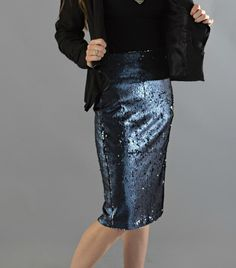 Blue Sequined Skirt