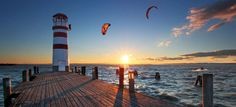 Sonnenuntergang am Neusiedlersee Kitesurfing, Places To Travel, Places To Visit, Weather Seasons, Seen, Hospice, Travel Memories, Salzburg, Versailles