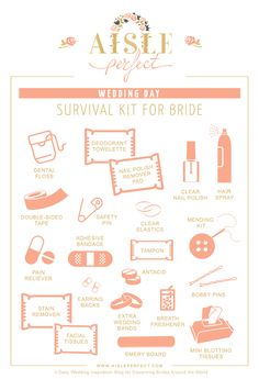 Wedding Day Survival Kit for the Bride - Aisle Perfect Cute Wedding Ideas, Wedding Tips, Wedding Day, Dream Wedding, Wedding Bells, April Wedding, Wedding Beauty, Boho Wedding, Wedding Reception