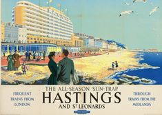 Daphne Padden vintage railway poster Hastings and St Leonards Posters Uk, Train Posters, Railway Posters, Art Deco Posters, Illustrations And Posters, Poster Prints, British Travel, British Seaside, Travel Uk