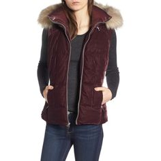 Women's Andrew Marc Val Velvet Vest With Faux Fur Trim ($98) ❤ liked on Polyvore featuring outerwear, vests, burgundy, purple waistcoat, velvet waistcoat, faux fur trim vest, andrew marc and velvet vest