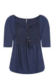 LACE INSET PEASANT TOP