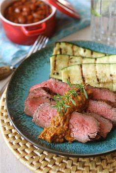 Grilled Marinated Tri-Tip Steak with Red Pepper Cilantro Pesto | cookincanuck.com #recipe