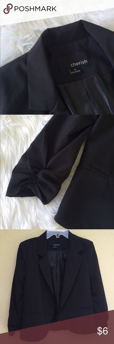 Black blazer Simple black Cherish blazer with ruched sleeves, slightly padded shoulders, no buttons, no stains, barely any signs of wear Jackets & Coats Blazers