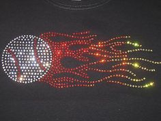 Flaming Baseball rhinestone t-shirt Sports women/misses/plus Baseball Gifts, Baseball Mom, Baseball Stuff, Personalized Shirts, Custom Shirts, Mom Shirts, Shirts For Girls, Rhinestone Shirts