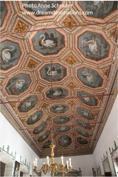 Swan Room Ceiling Sintra National Palace.  There are 27 swans on this ceiling. Sintra Portugal.