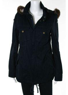PATTISON J KINCAID Navy Blue Cotton Fox Fur Hood Trim Vest Linining Jacket Sz S #PattinsonKKincaid #BasicJacket