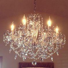 Crystal chandelier for powder room Kitchen Chandelier, Antique Chandelier, Chandelier Lighting, Crystal Chandeliers, Room Lights, Ceiling Lights, Mirror Lamp, Dream Furniture, Types Of Lighting
