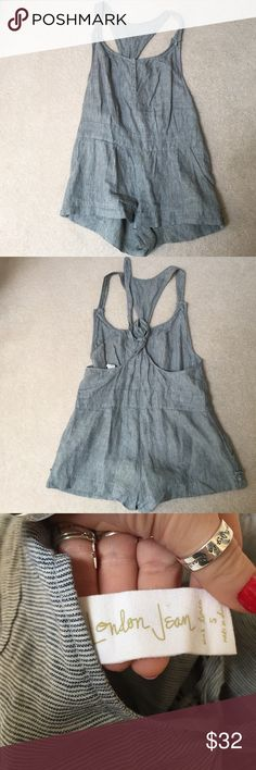 London Jean Romper London Jean Romper. 100% linen. Lightweight and perfect to wear with a bralette. Adjustable back so it can fit various heights. Listed under Anthropologie for exposure. Make an offer! Anthropologie Pants