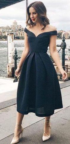 Off The Shoulder Midi Black Dress                                                                             Source