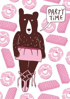 Ballerina Bear| Happy Birthday Card The biscuits are out and she has her dancing shoes on. It's party time! A great birthday or general card for her.