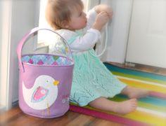 Custom Wool Felt Easter Basket - Sweet Little Birdies