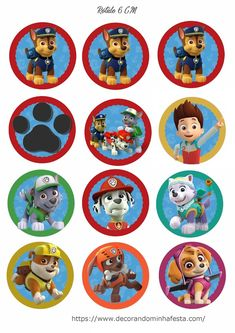 Topper Patrulha Canina para imprimir Paw Patrol Party, Paw Patrol Birthday, Paw Patrol Invitations, Topper, Alice, Birthday Parties, Tobias, Picture Cards, Invitations