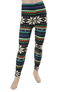 L4U Girls Frosty Nordic Snowflake Brushed Printed Fashion Leggings. Available in two sizes: S/M, and L/XL.