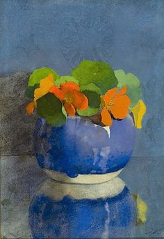 Oost-Indische kers in een blauwe gemberpot (Nasturtium in a Blue Ginger Jar) by Jan Voerman, Sr. on Curiator, the world's biggest collaborative art collection. Art Floral, Art Amour, Art Et Illustration, Still Life Art, Paintings I Love, Watercolor Flowers, Watercolour, Love Art, Painting Inspiration