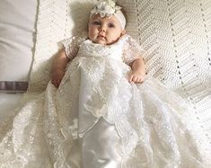 Lauren Lace Christening gown set Baptism Gown por Caremour en Etsy