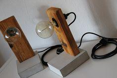 Tisch-/ Nachtischlampen, handgefertigtaus Beton und Altholz. Hochwertige E27 Kunststoff-Fassung mit Schalter, Textilkabel und Stecker. Inkl. Vintage Edison E27 Glühlampen 40Watt Filzgleiter an...