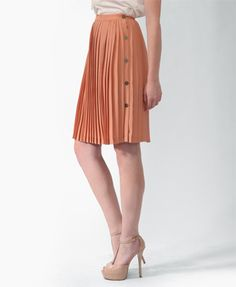 Pleated Buttoned Midi Skirt   LOVE21 - 2000038469
