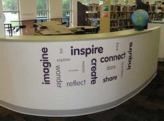 High School Library Decorating Ideas - Bing Images Adhesive Type - Rooms Inn The House School Library Decor, School Library Displays, Middle School Libraries, Library Themes, Elementary School Library, Elementary Schools, Library Ideas, School Office, Library Decorations
