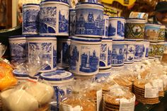 The traditional caramelized stroop waffles in a typical Dutch blue and white storage jars ! Yummmmmmm