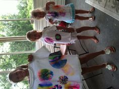 Tie dyed shirts using sharpies.