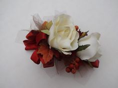 Corsage cream roses with fall leaves and by AlwaysElegantBridal, $15.00