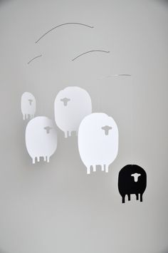 Counting sheep in . I want to make these sheep! Mobiles, Sheep Mobile, Black White Nursery, Tiny Monkey, Baby Wall Decor, Counting Sheep, Project Nursery, Nursery Inspiration, Nursery Design
