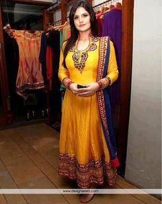 DE Awe-inspiring Yellow Long Anarkali Suit for mehendi