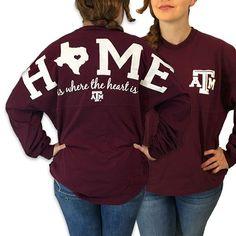 Texas A&M Aggies Women's Home Spirit Jersey Long Sleeve Oversized Top Shirt