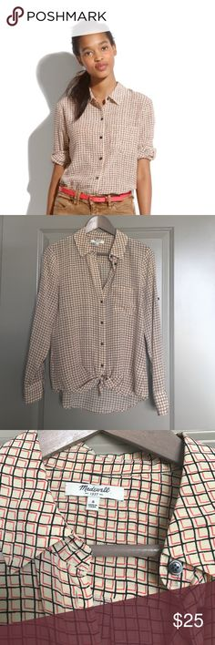 Madewell silk boyshirt in checkbox Boyfriend fit, 100% silk. Super cute and flowy. Perfect condition! Has a functional button on the sleeve to roll it up and a chest pocket Madewell Tops Blouses