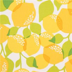 white Michael Miller fabric with yellow lemons