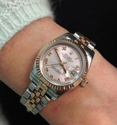Rolex Lady DateJust in two toned rose gold.