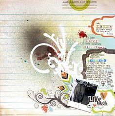 use Tim Holtz mask on a SB page! #scrapbooking #layout