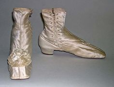 Wedding Shoes Date: 1855–65 Culture: American Medium: silk, leather
