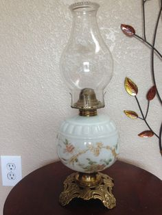Vintage Floral Oil Lamp Kerosene Lamp by BlueOceanGlass on Etsy