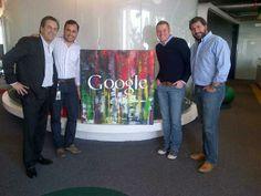 Pablo Slough, Adrián Bravo y Pedro Egea junto a Matías Perel, CEO de Latin3, en la oficina de Google México