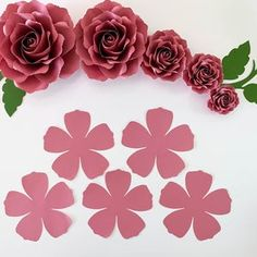 PDF Tiny Rose 3 Paper Flower 6 Different sizes Trace and   Etsy Paper Flower Patterns, Paper Flowers, Silhouette Cameo, Flower Petal Template, Book Page Roses, It Pdf, Rose Crafts, Cricut, Stencil Diy