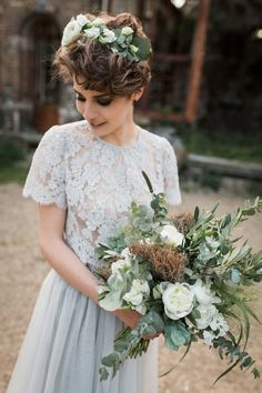 Pastel Wedding Colors, Floral Wedding, Wedding Bouquets, Wedding Dresses, Short Blonde Pixie, Hair To Go, Dream Wedding, Wedding Day, Bride Hairstyles