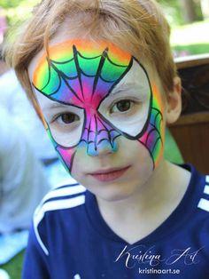 Face painting rainbow spiderman. Ansiktsmålning spindelmannen. kristinart.se