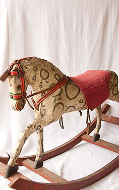 Vintage Rocking Horse by And George. Antique Rocking Horse, Rocking Horse Toy, Vintage Horse, Antique Toys, Vintage Antiques, Objets Antiques, Wooden Horse, Painted Pony, Pull Toy