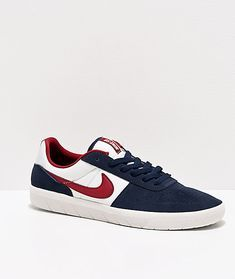 Nike Sb Team Classic Navy Obsidian Red White Skate Shoes Zumiez In 2020 Skate Shoes Classic Blue Blue Shoes