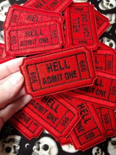 Hell Admit One 666 Gothic Iron On Embroidered Patch