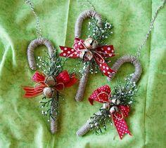 bastones de caramelo envuelto, navidad, ornamento, bricolaje, artesanía niños, hecho en casa, hecho a mano, día de fiesta, la decoración, los bastones de caramelo, yute, guita, cascabeles: