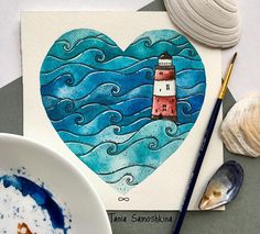 Illustration Art Sea Ocean Ideas For 2019 Watercolor Drawing, Painting & Drawing, Watercolor Paintings, Art And Illustration, Watercolor Illustration, Sea Art, Art Club, Cute Drawings, Cute Art